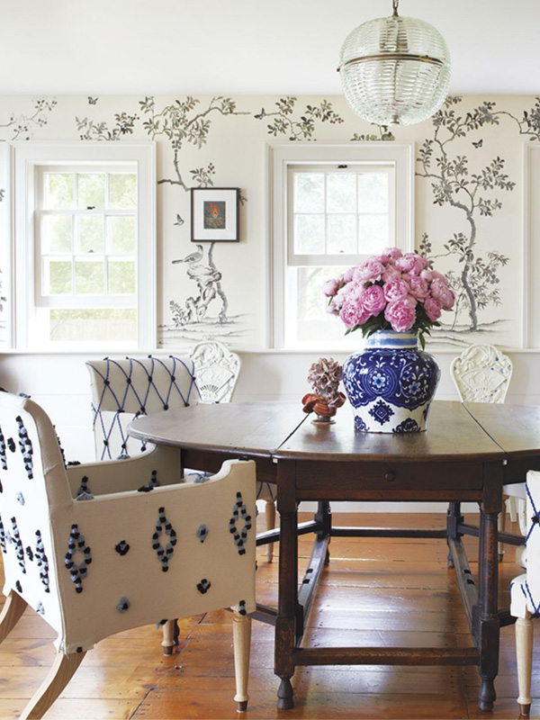 a-fun-mix-of-antique-and-fresh-textile-textures-in-the-dining-room-refined-boheme-farmhouse-home-tour-via-coco-kelley