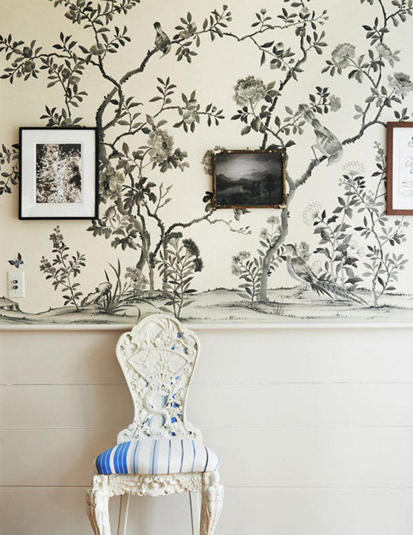 antique-chair-and-black-and-white-chinoiserie-wallpaper-refined-boheme-house-tour-via-coco-kelley