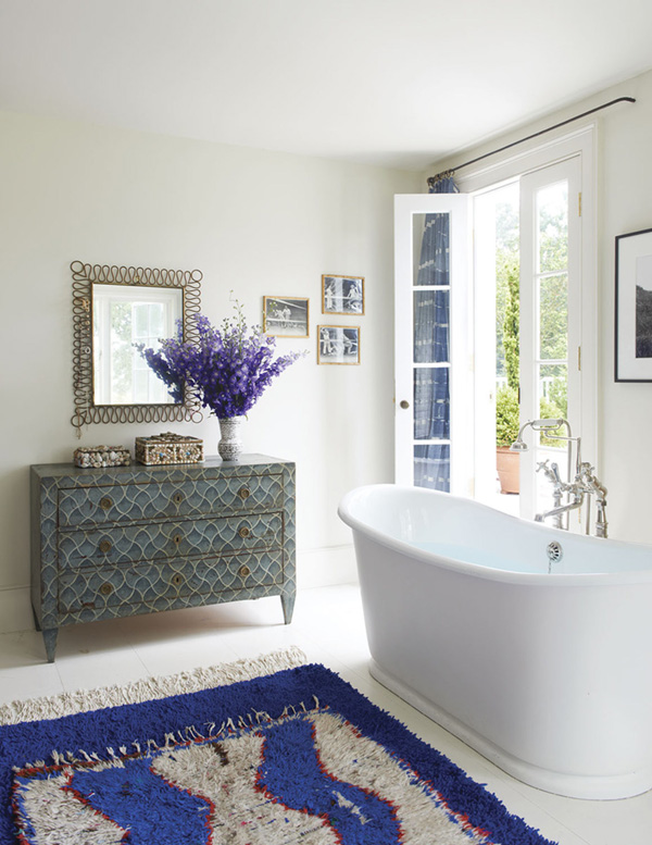 fresh-bathroom-with-blue-moroccan-rug-refined-boheme-house-tour-via-coco-kelley