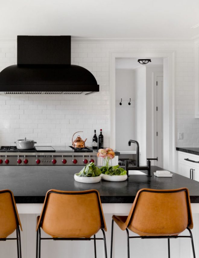 modern-classic-black-and-white-kitchen-with-leather-stool-and-black-hood-house-tour-on-coco-kelley-768x993